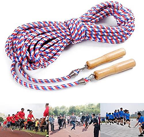 Springseil für Mehrspieler, Speed Rope Lange Seilspringen, Springseil mit Holzgriff, Beste Teamgruppen-Springseil für Schule, Sport Workout und Outdoor-Aktivitäten (5M)