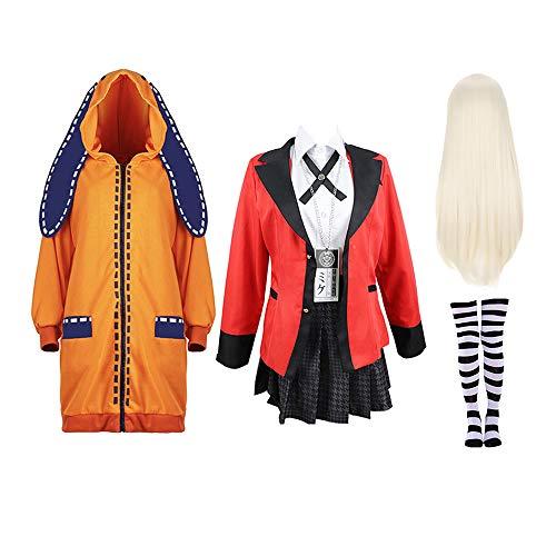 Measurement Kakegurui-Cosplay-Kostüm, Schulmädchen-Uniform, Mantel, Shirt, Kleid, Socken, Perücke, vollständiges Anime-Cosplay-Set Gr. Medium, Yomoduki Runa-Anzug