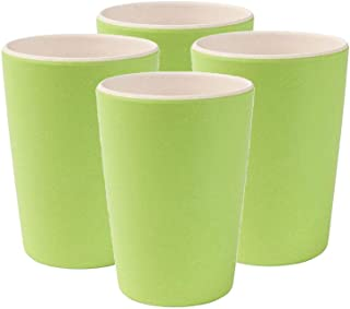 BIOZOYG Vajilla Eco Friendly de bambú para niños I 4 Tazas de melamina vajilla de Fiesta Taza de café Reutilizable Apta para lavavajillas sin BPA Taza Natural I Blanco/Verde 300 ml