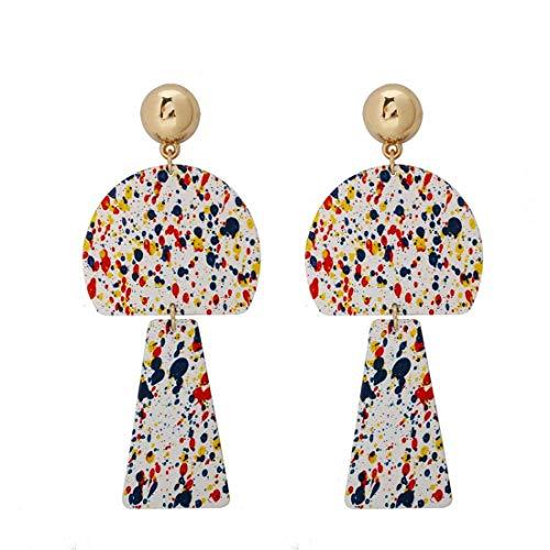 L.W.S Pendientes Arte Pintura Impresión Pendientes creativos Forma geométrica Metal Contraste Color Pendientes Europeos y Americanos Rojo Banquete Mujer
