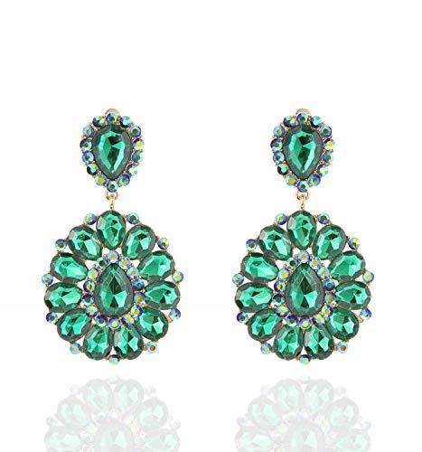 SP Sophia Collection Women's Bohemian Crystal Teardrop Dangle Clip On Earrings in Gold Green