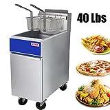 Premium Commercial Deep Fryer - KITMA 40 lb. Liquid Propane 3 Tube Floor Fryer with 2 Fryer Baskets -...