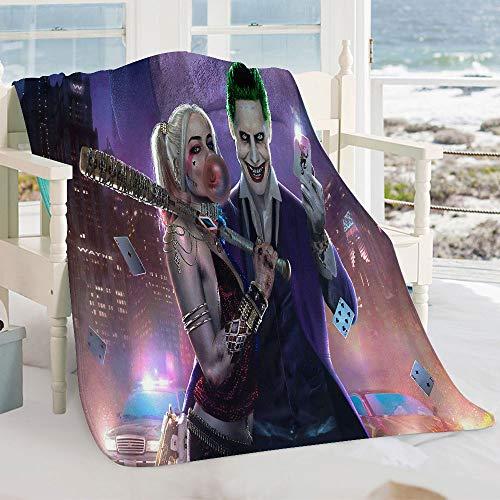 Semzuxvvo Joker und Harley Quinn Anime Komfortable warme Mikrofaser Decke Joker und Harley Quinn Anime Movie Charaktere Seidig weiche Plüsch Decke für Kinder Erwachsene 230 x 180 cm