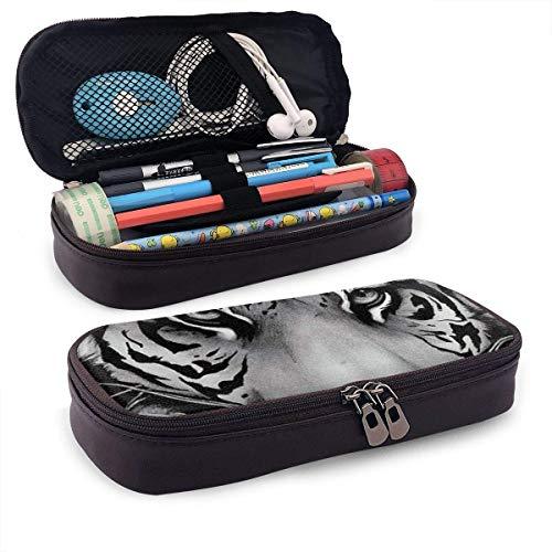 Estuche de lápices Bolso de bolígrafo de gran capacidad Cremalleras dobles Bolso de maquillaje Bolso de papelería Bolso cosmético con compartimentos - Cool Tiger King