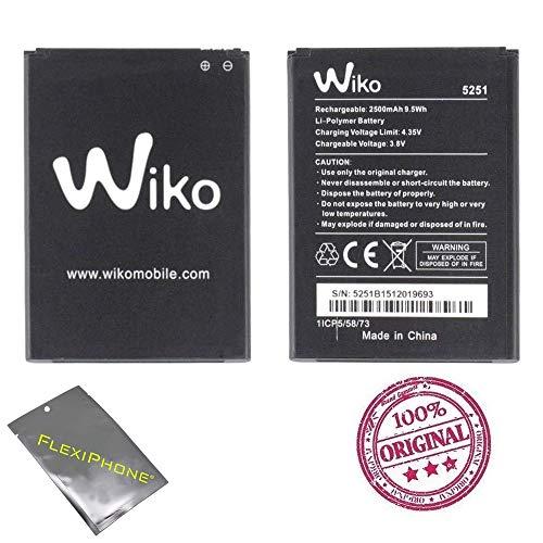 Akku für Wiko Pulp 3G/4G oder Rainbow Jam 4G oder Robby oder Jerry 2 oder Tommy 3, Typ 5251, 2500 mAh, 9,5 Wh, 3,8 V, 100 % Original