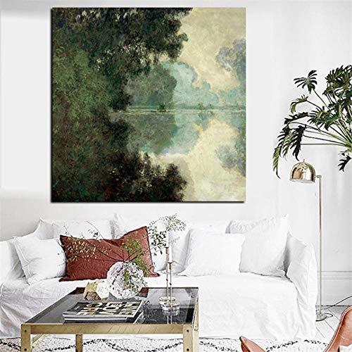 Canvas Print Monet tak van de Seine in de buurt van Giverny Landscape olieverfschilderij op canvas muurfoto voor woonkamer bank Cuadros 60x60cm