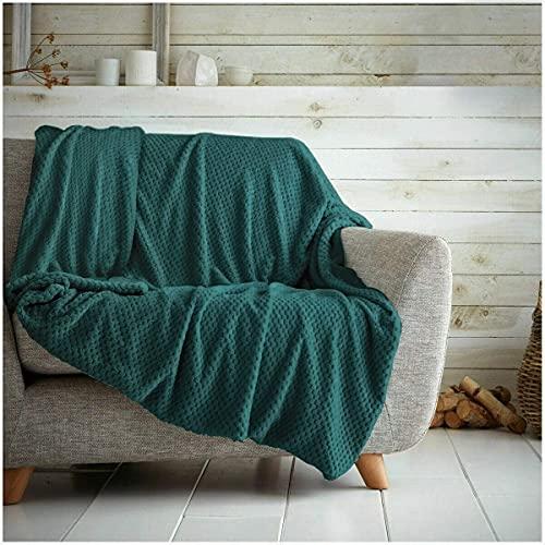 Kinfolk Textile Überwurf mit Waffelmuster, Wabenstruktur, weich, warm, kuschelig, für Sofa, Reise, Tagesdecke, Smaragdgrün, King-Size-Größe – 200 x 240 cm