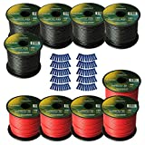 Harmony Audio Primary Single Conductor 14 Gauge Power or Ground Wire - 10 Rolls - 1000 Feet - Red & Black for Car Audio/Trailer/Model Train/Remote
