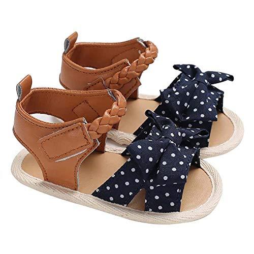 Demarkt - Sandalias de piel para bebé y niña, suela suave, antideslizantes, aptas para niños de 6 a 18 meses, con cierre de velcro azul oscuro 12 cm