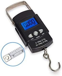 GGHKDD - Báscula electrónica digital de pesca digital portátil con cinta métrica y pantalla LCD retroiluminada para pesar ...