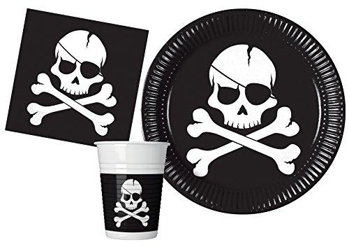 Ciao- Kit Mesa Fiesta Party Piratas Black Skull para 24 personas (88 piezas: 24 platos de papel Ø23cm, 24 vasos de plastico 200ml, 40 servilletas de papel 33x33cm), Y4649