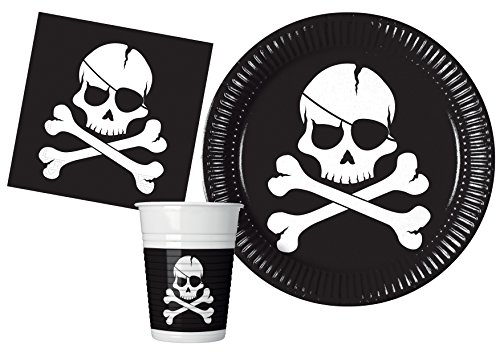 Ciao Y4649 Kit Mesa de Fiesta Piratas Black Skull People (88 Piezas Planas Ø23 cm, 24 Vasos de Plástico 200 Ml, 40 Servilletas de Papel 33 X 33 cm), Individual, Multicolor