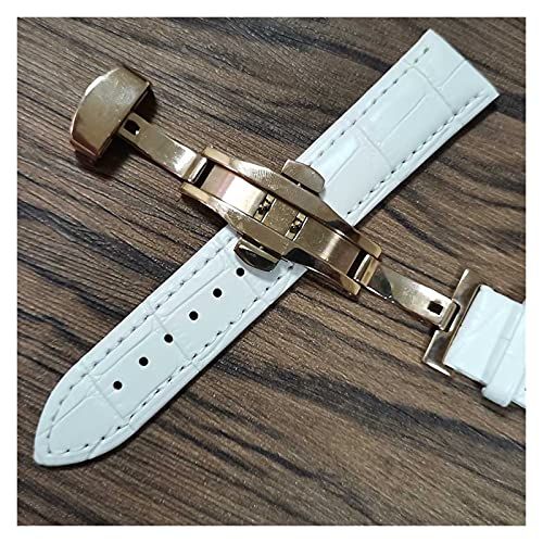 LIANYG Correa De Reloj Cintas de Reloj de Cuero 14mm 16mm 18 mm 19 mm 20 mm 21mm 22mm 24mm Reloj de Reloj Suave Lata de Correa 493 (Band Color : White Rose Gold, Band Width : 18mm)