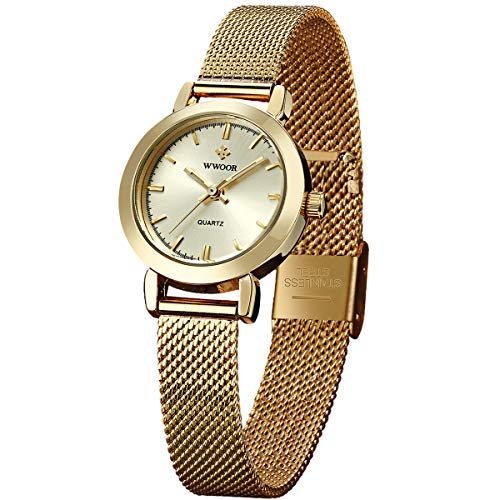 Womens Watches Small Face Watch Analog Quartz with Adjustable Steel Mesh Watch Waterproof Tiny Wrists 10-16mm Band