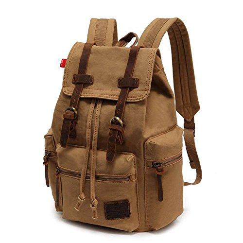 Koolehaoda Canvas Zaini/ viaggi escursioni campeggio zaino per portatile borsa a tracolla zaino per la scuola per Outdoor Sports (cachi)