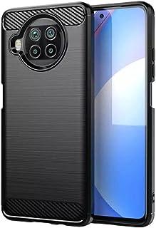 جراب خلفي من الراجيد ارمور والكربون فايبر ضد الصدمات لهاتف شاومسي مي 10 تي لايت / Xiaomi Mi 10T Lite - اسود