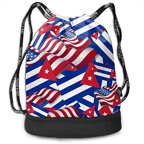 OIVLA Cord Bag Sackpack Cuba Flag with America Flag Drawstring Bag Rucksack Shoulder Bags Travel Sport Gym Bag Print - Yoga Runner Daypack Shoe Bags with Zipper and Pockets