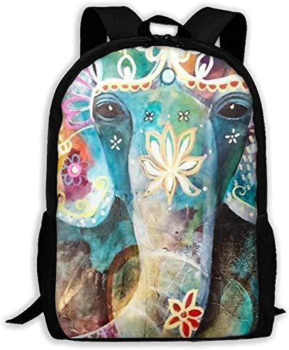 School Bags,Casual Unisex Shoulder Book Bags Unisex Adjustable Pack College Colorful Floral Flower Elephant Oxford Travel Bag Laptop Bag Outdoor Dayback Kids Adult