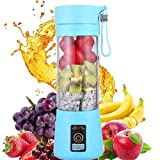 HANBO Electric Portable Juicer Blender Cup, Household Fruit Mixer with Six Blades in 3D, 380ml USB Rechargeable Juice Blender Magnetic Secure Switch Electric Fruit Mixer (Light Purple)
