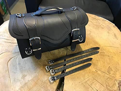 ORLETANOS Devil Black Gepäckkoffer kompatibel mit Harley Davidson XS Sissybar Koffer Rolle Roller Vespa Moped Motorrad HD Lederkoffer Gepäckträger Heckkoffer Chopper Custom schwarz