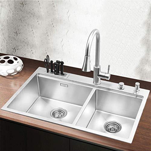 Pkfinrd keuken wastafel 304 roestvrij staal kleine wastafel afwaspool multifunctioneel enkelvoudig dubbele trough 11.18
