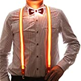 2 Pcs/Set, Good Quality Light Up Men's LED Suspenders And Bow Tie, Perfect for Music Festival Halloween Costume Party (Orange)