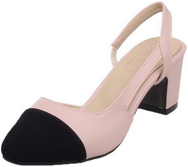 AllhqFashion Women's PU Kitten-Heels Elastic Assorted color Pumps-shoes