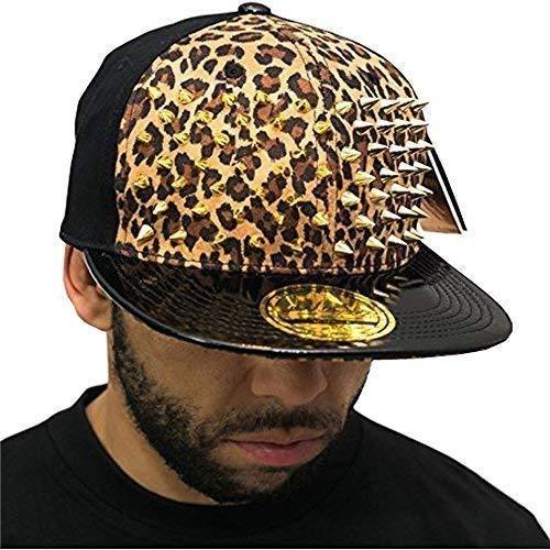 Incrusté de strass Motif léopard beige SP Casquette de baseball à visière plate or-collection Chapeau