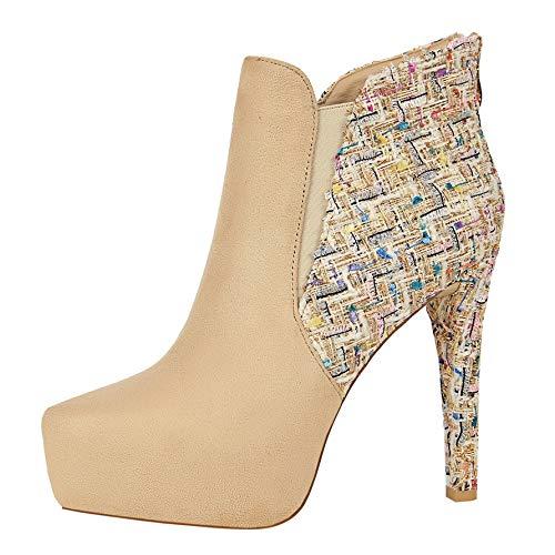 Shukun enkellaarsjes herfst en winter damesschoenen 12Cm hoge hak Stiletto veelzijdige puntige laarzen mode Martin laarzen