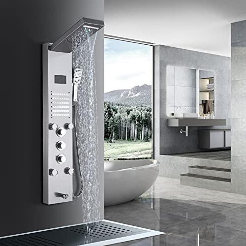 TVTIUO Panel de Ducha Hidromasaje en Acero Inoxidable Con LED Alcachofas 5 Salida de Agua Multifunción Sistema de Ducha Montaje en Pared,níquel pulido