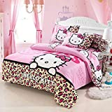 Warm Embrace Kids Bedding Teen Comforter Set Girls Children Bed in a Bag Leopard Hello Kitty,Duvet Cover and Pillowcase and Flat Sheet and Duvet (White),Twin Size,4 Piece