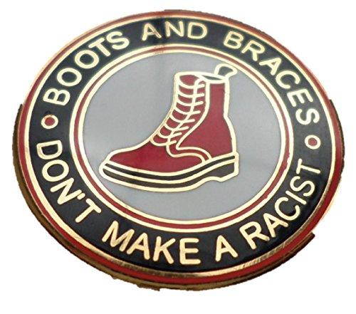 Laarzen en beugels maken geen racistische emaille pin-badge
