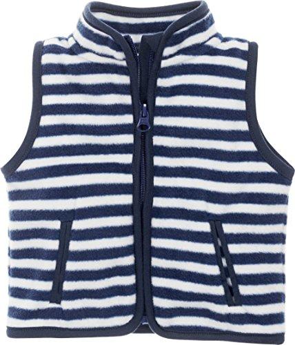Playshoes Schnizler Baby Fleece-Weste, ärmellose Unisex-Jacke für Mädchen und Jungen mit Reißverschluss und Kontrastnähten, gestreift