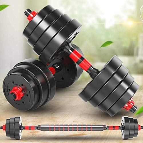 Divine Spear Fitness Dumbbell Set, 44 / Pound Adjustable Weight Sets, Free Weight with Crank Used as Barbell, Iron Sand Mix, Ergonomic Design Home Gym Workout Equipment