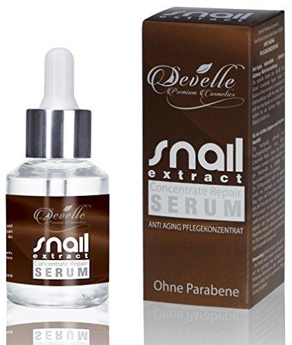 Anti Aging Serum hochkonzentriert - Snail Extract Repair Serum Anti Falten Pflegekonzentrat für Haut Gesicht Dekolleté und Körper 30 ml. Made in Germany