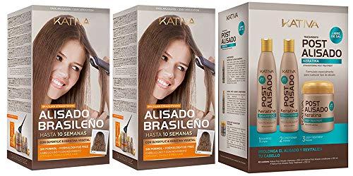 Kativa Kit Alisado Brasileño x2 + Post Alisado (Champu, Acondicionador y Mascarilla)