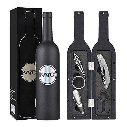 Kato Wine Accessories Gift Set - Wine Bottle Corkscrew Opener Kit, Drip...