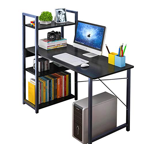Anmas Power Computer Desk with 4 Shelves,PC Laptop Table Home Office Workstation,Industrial Table, Home Office Desk with Metal and Wood Bookshelf (B-Black)
