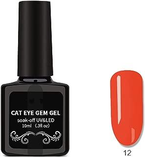 Cat Eyes Nail Polish, Nail Art Removable Nail Polish, Magnet Gem Wide Cat Eyes Colored Glass Star Glue 03,08