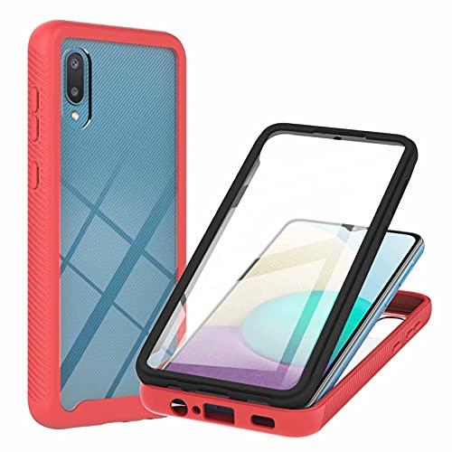 TTNAO Funda para Samsung Galaxy A02,Absorción de Golpes Suave Ultrafino Anti-rasguños Prima Pet Membrana Templada Anterior CaseProtección de Todo el Cuerpo Cover,Rojo