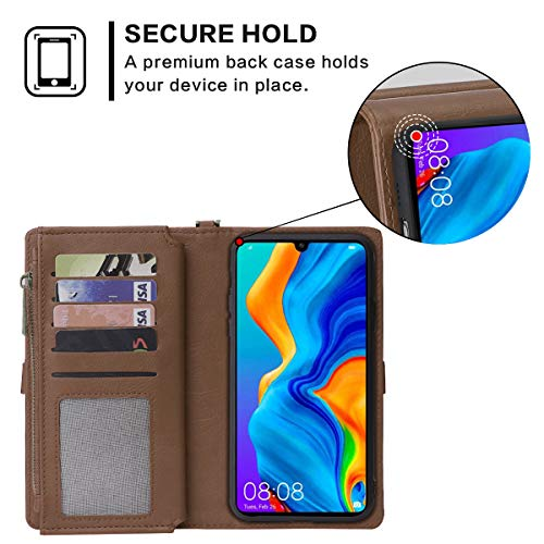 Rlyrce Fall kompatibel mit Huawei P30 Lite Zubeh?rteil PU-Leder Schützende Haut Double Layer Bumper Shell Stoßfest Impact Defender Protective Fall Zubeh?rteil zum Fall kompatibel mit Huawei - 6