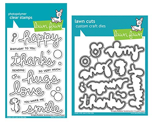 Lawn Fawn Scripty Bubble Sentiments 4'x6' Clear Stamp Set and Coordinating Dies, Bundle of 2 Items (LF2502, LF2503)