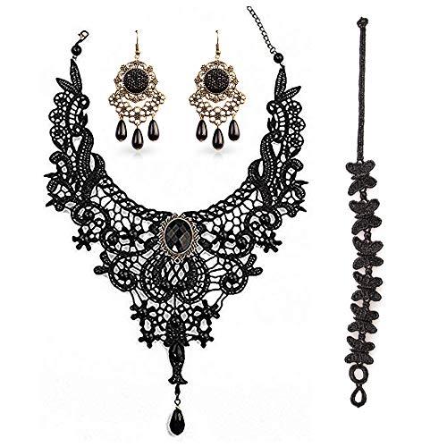BagTu Conjunto de Collar y aretes de Encaje Negro, Gargantilla Colgante Gothic Lolita Negra para un Disfraz de Halloween y una Boda (Negro)
