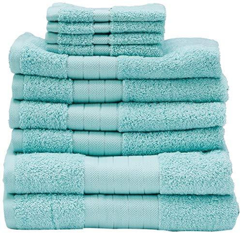 Dreamscene–Set Regalo di lusso morbido asciugamani, cotone, aqua, 10pezzi