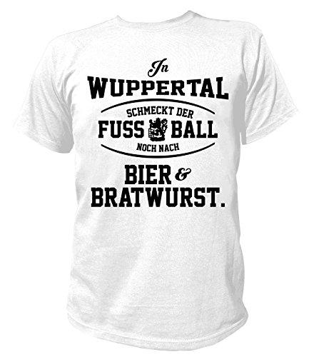 Artdiktat Herren T-Shirt - In Wuppertal schmeckt der Fußball noch nach Bier und Bratwurst Größe XXXL, weiß