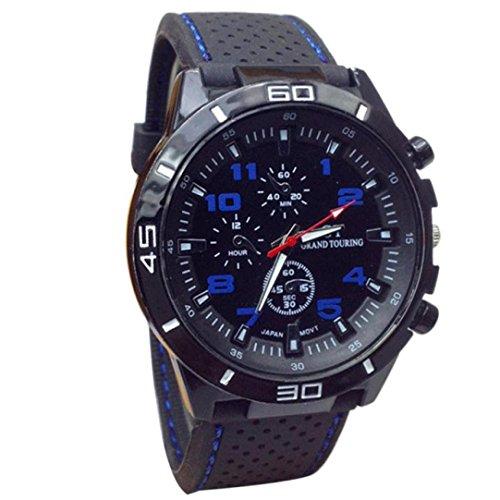 Rakkiss New Quartz Watch Men Military Watches Sport Wristwatch Silicone Fashion Hours (Blue)