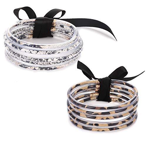 SHAMARTE Multiple Leopard Print Bangle Bracelet for Women Cheetah Print Jewelry Gummy Siliceno Rubber Wristband Snakeskin Print Bangle Wristlet 2 PCS (Leopard Print&Snakeskin)