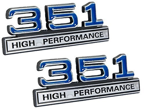 "351 5.8 Liter Engine High Performance Emblems in Chrome & Blue - 4"" Long Pair"