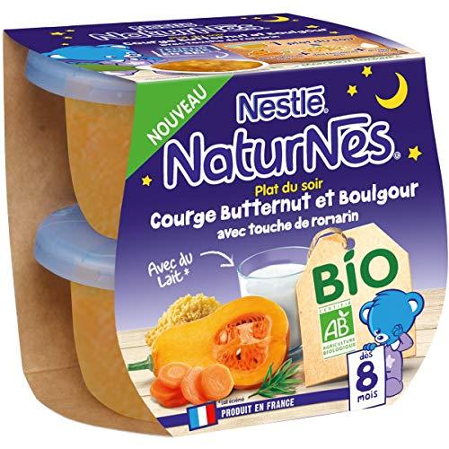 Nestlé Naturnes Bio Purée bébé Courge Butternut, Boulgour avec Touche de Romarin Dès 8 mois...