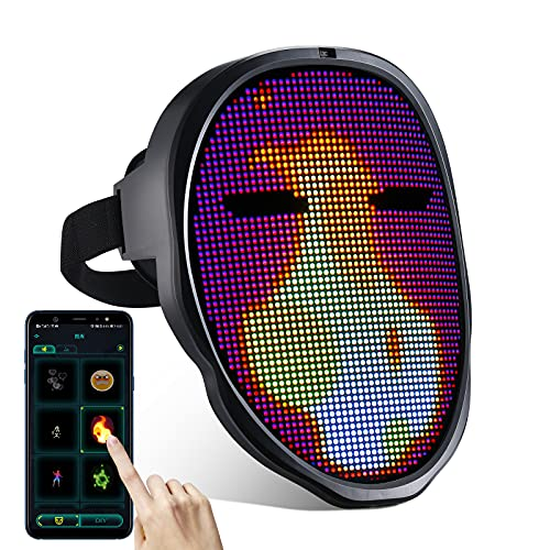 Led Mask with Programmable,Bluetooth Face Mask, Light up Mask for Costumes Cosplay Masquerade Party…